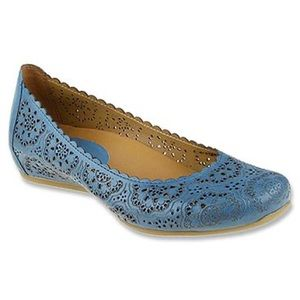 Earthies Bindi Leather Ballet Flats Pacific Blue